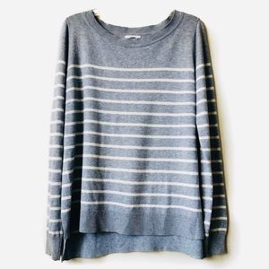 old navy boxy gray striped sweater